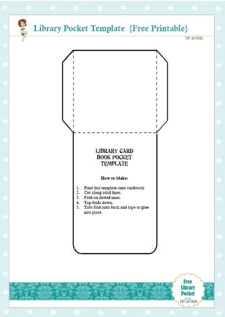 6 Images of Book Pocket Template Printable