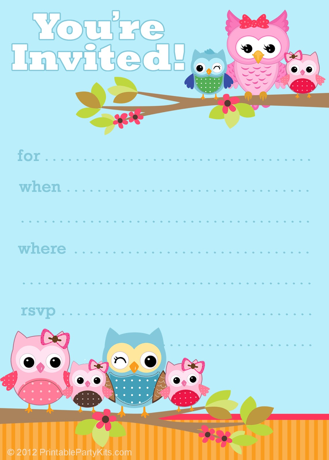 6 Images of Owl Birthday Party Invitations Printable