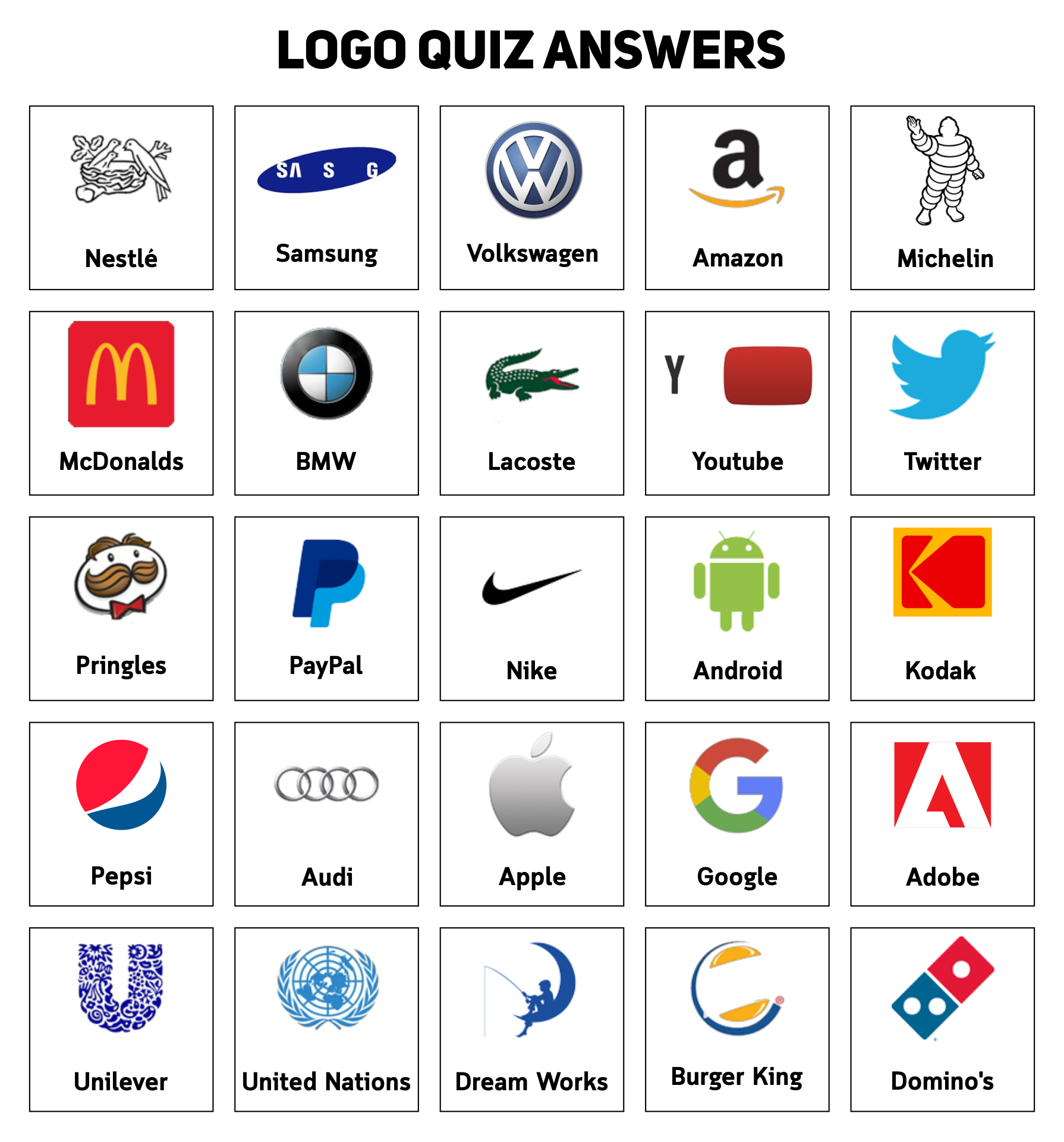 Guess the Logo Quiz Game Answers