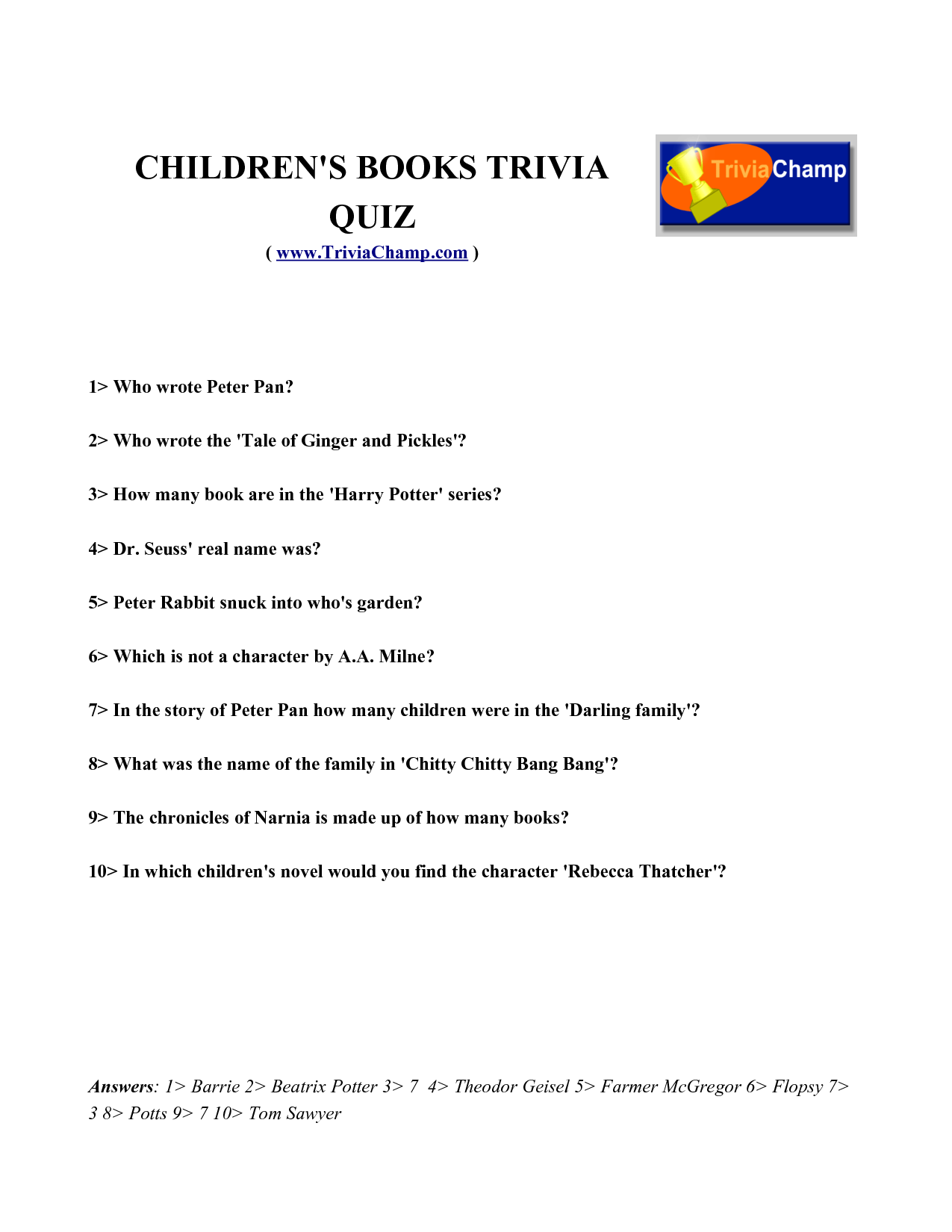 5 Images of Printable Harry Potter Trivia