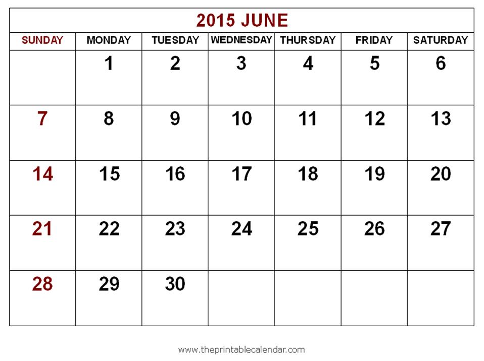 June Calendar Images : Best images of blank june calendar printable