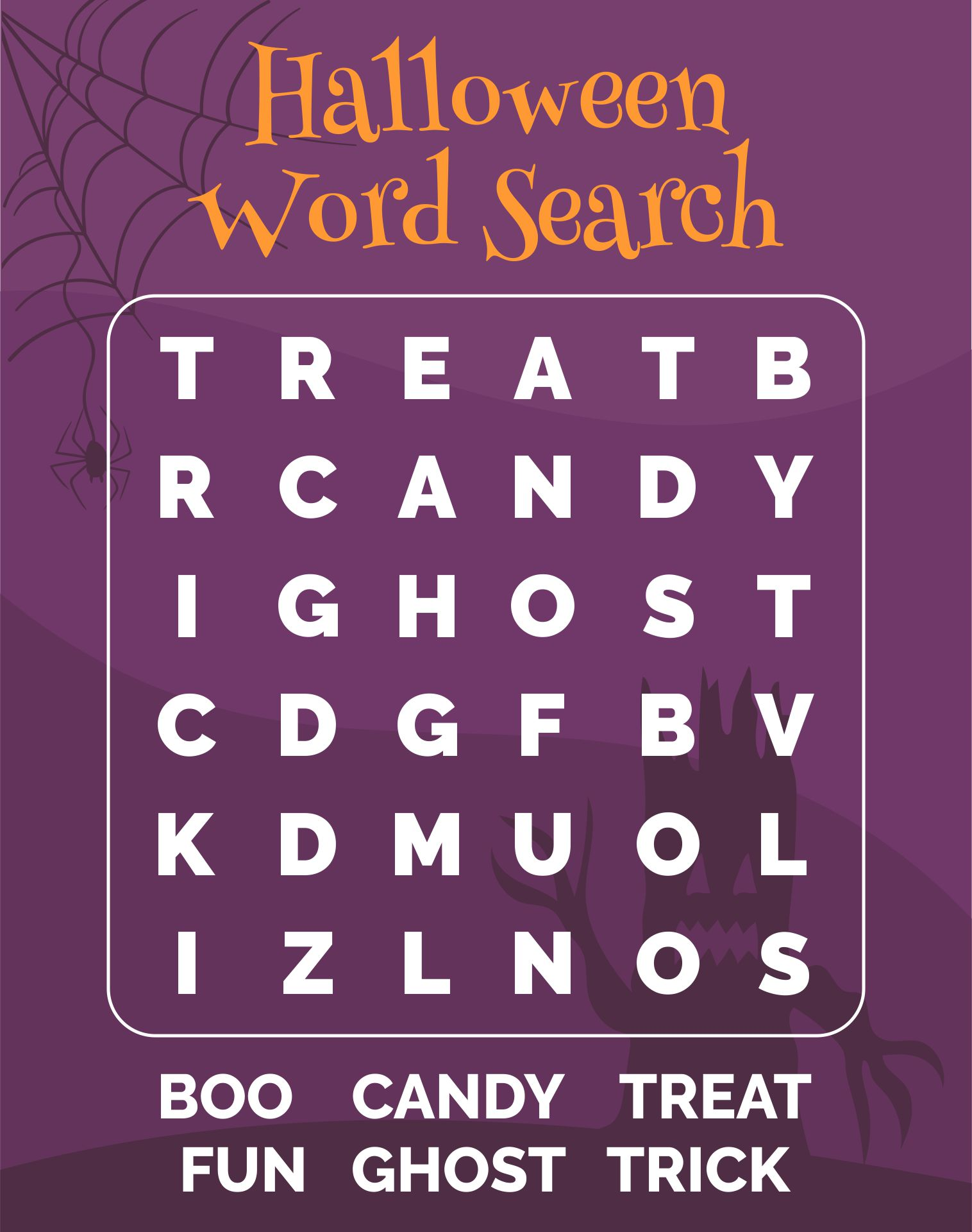 7 Images of Kids Halloween Word Search Printable