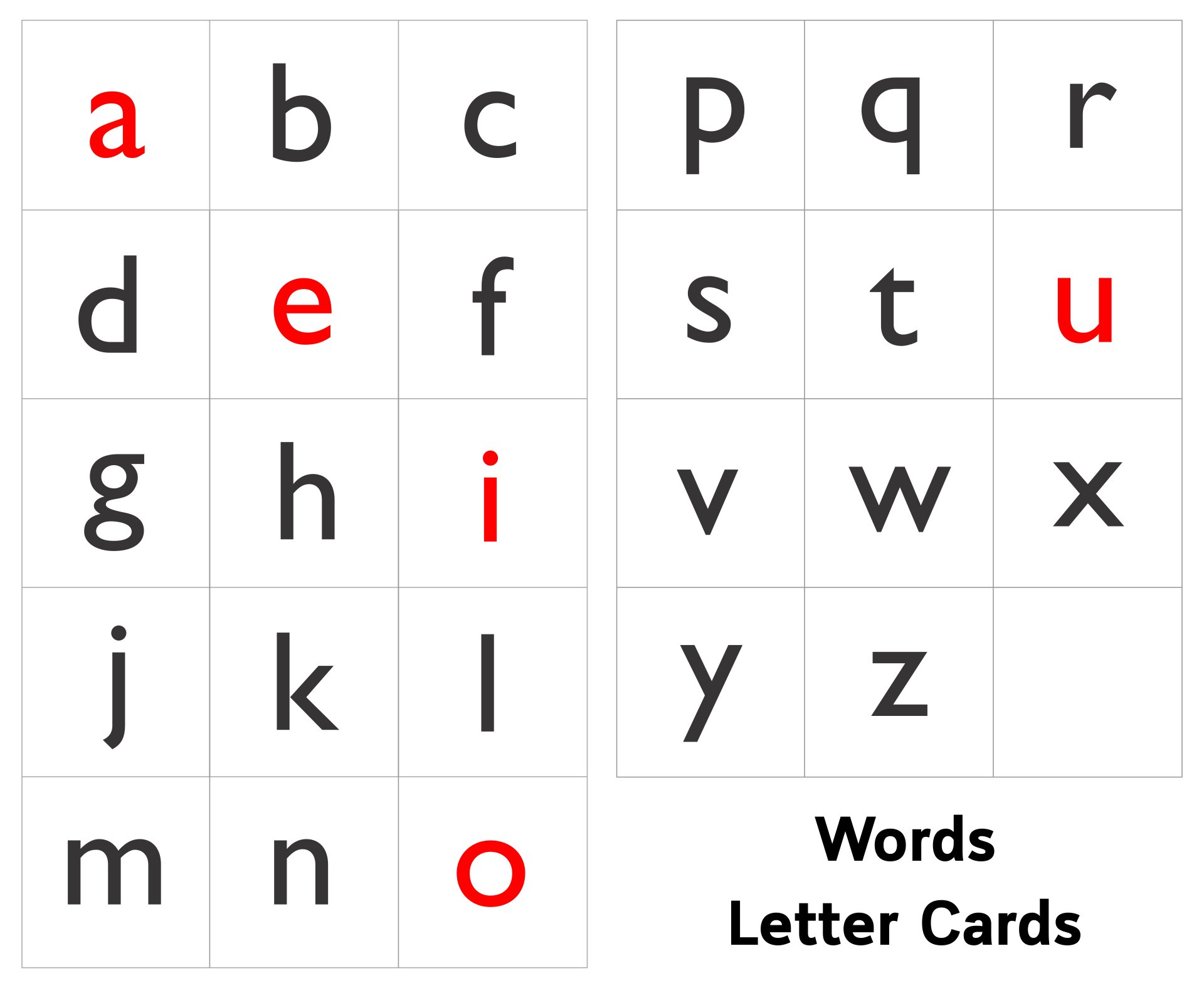 Making Words Letter Cards Printable