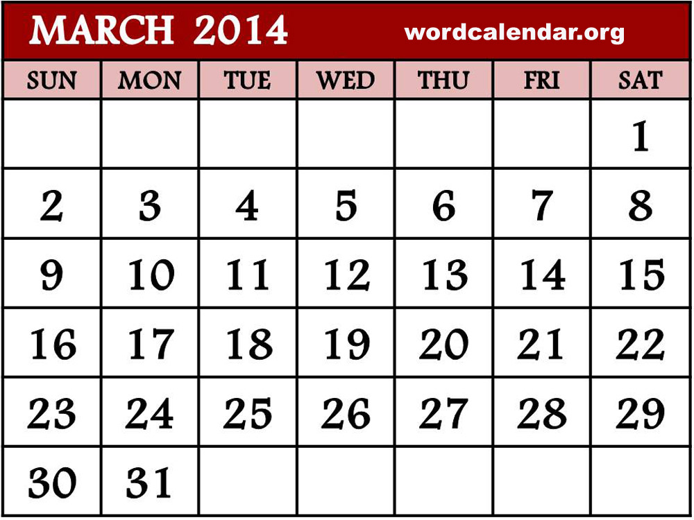 Calendar March 2014 : Best images of march calendar printable monthly