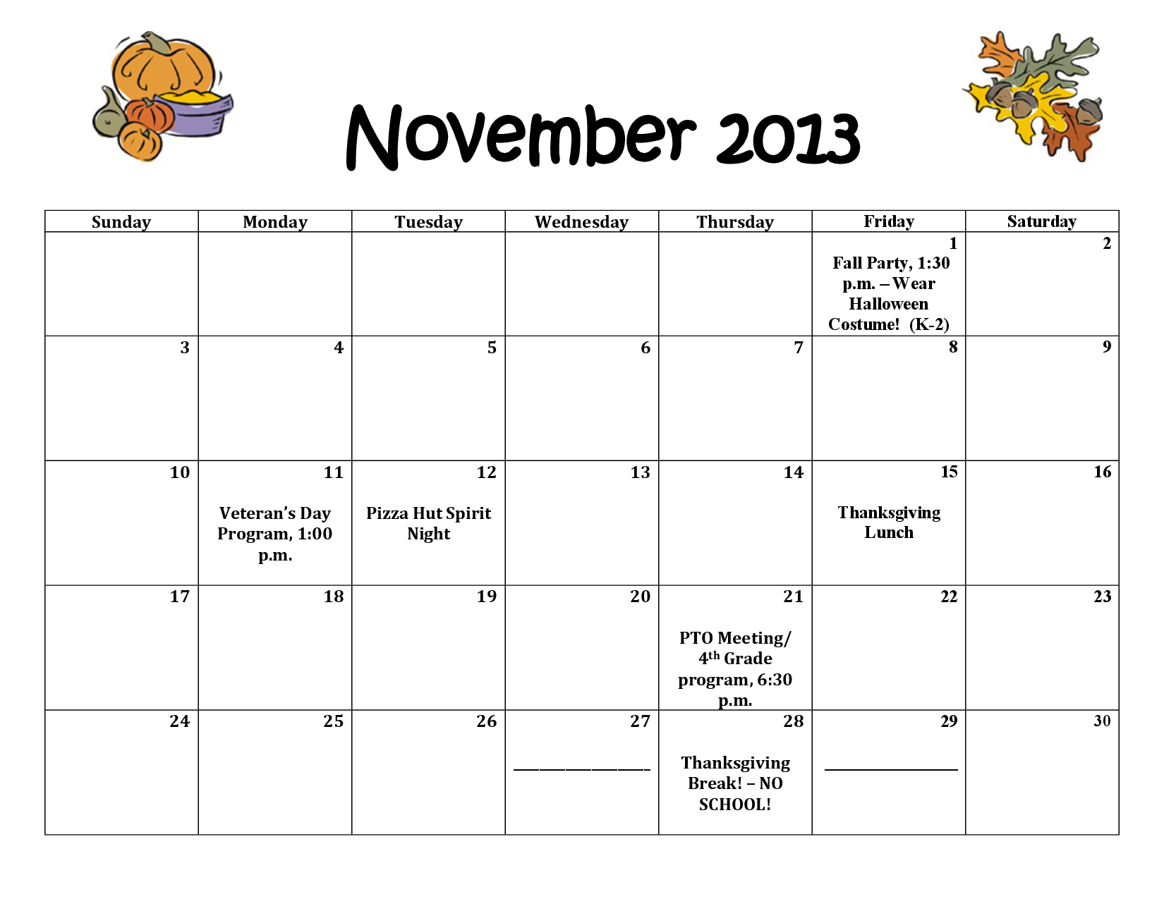 6 Images of Printable November 2013 Thanksgiving Calendar