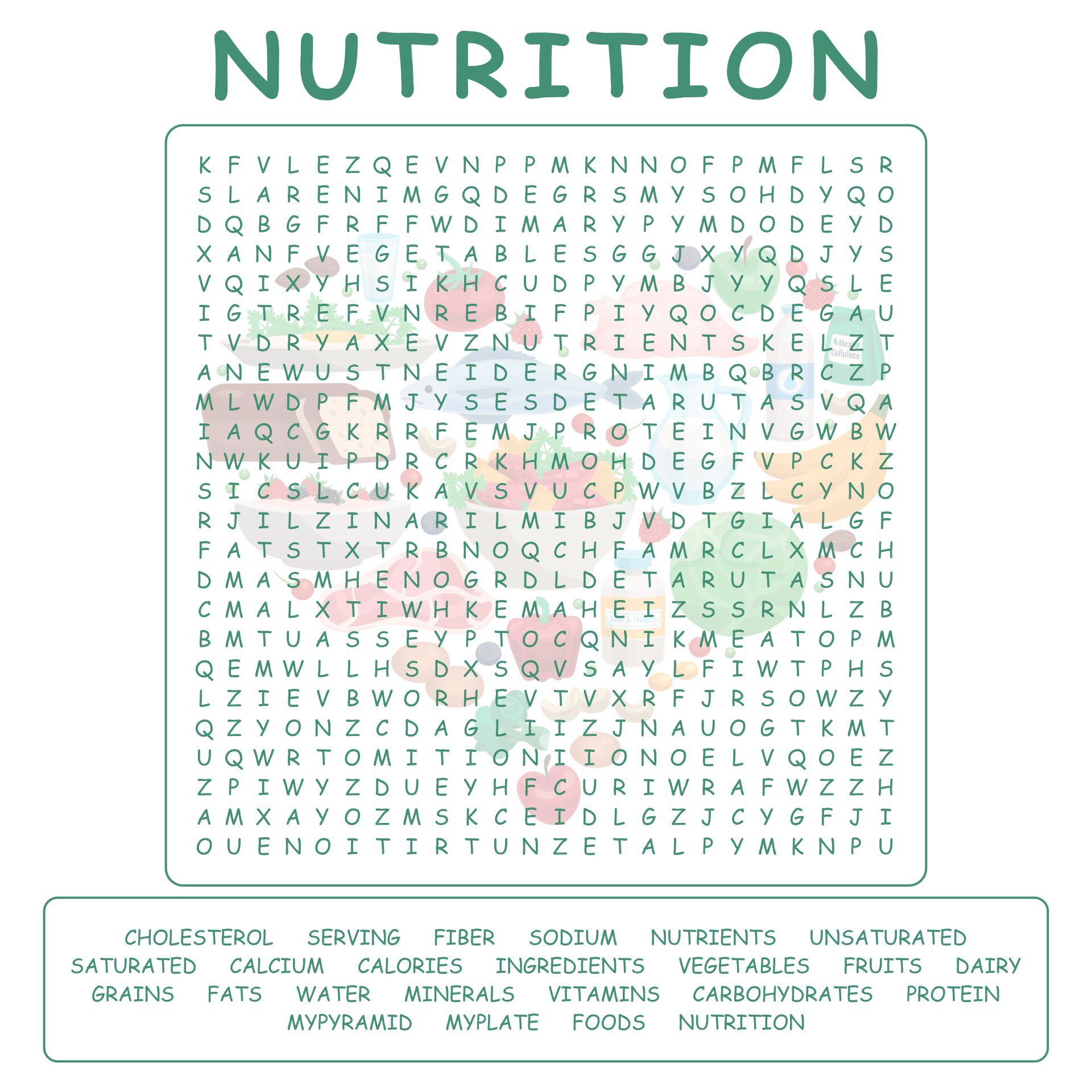Nutrition Word Search Puzzles