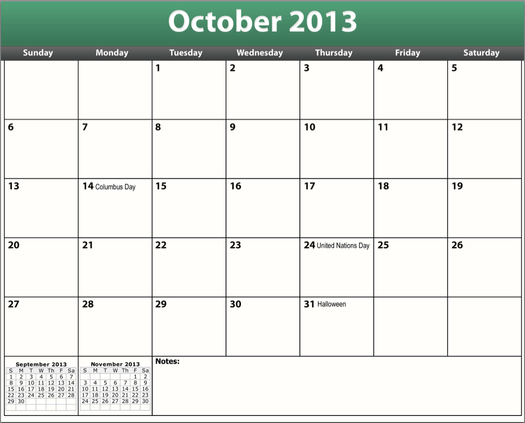 6 Images of October 2013 Calendar Printable Excel