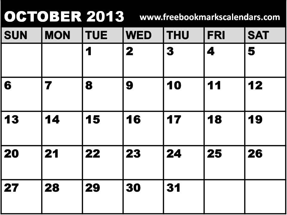 October Calendar 2013 : Best images of october calendar printable excel