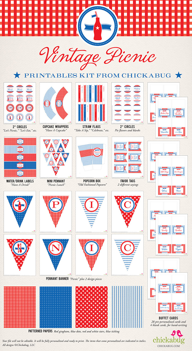 7 Images of Vintage 4th Of July Party Printables