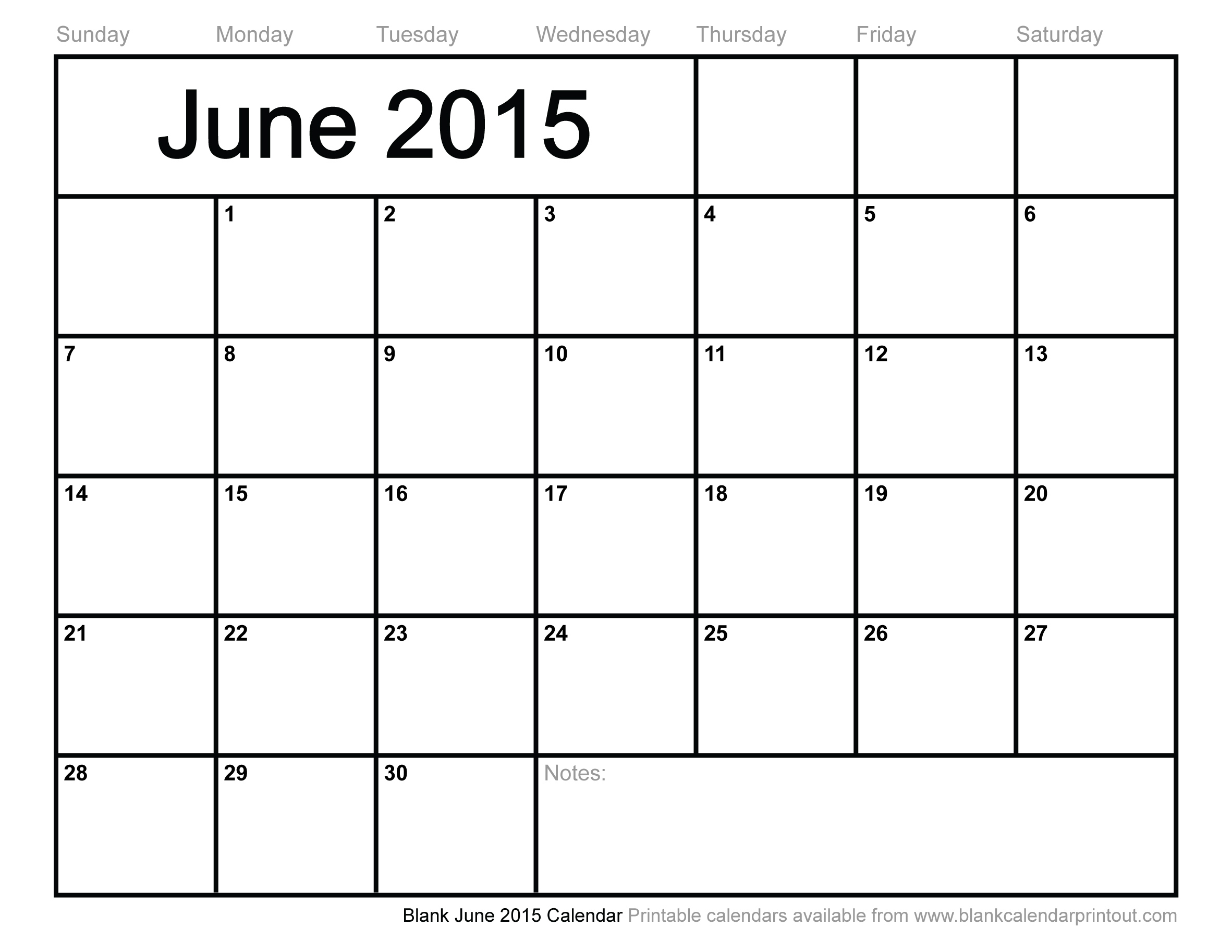 7 Images of Blank June 2015 Calendar Printable