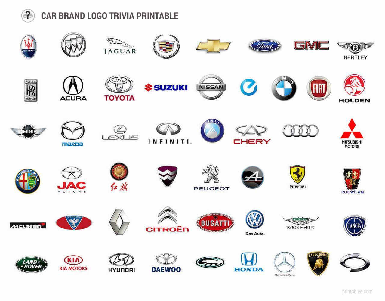 Printable car brands logo trivia