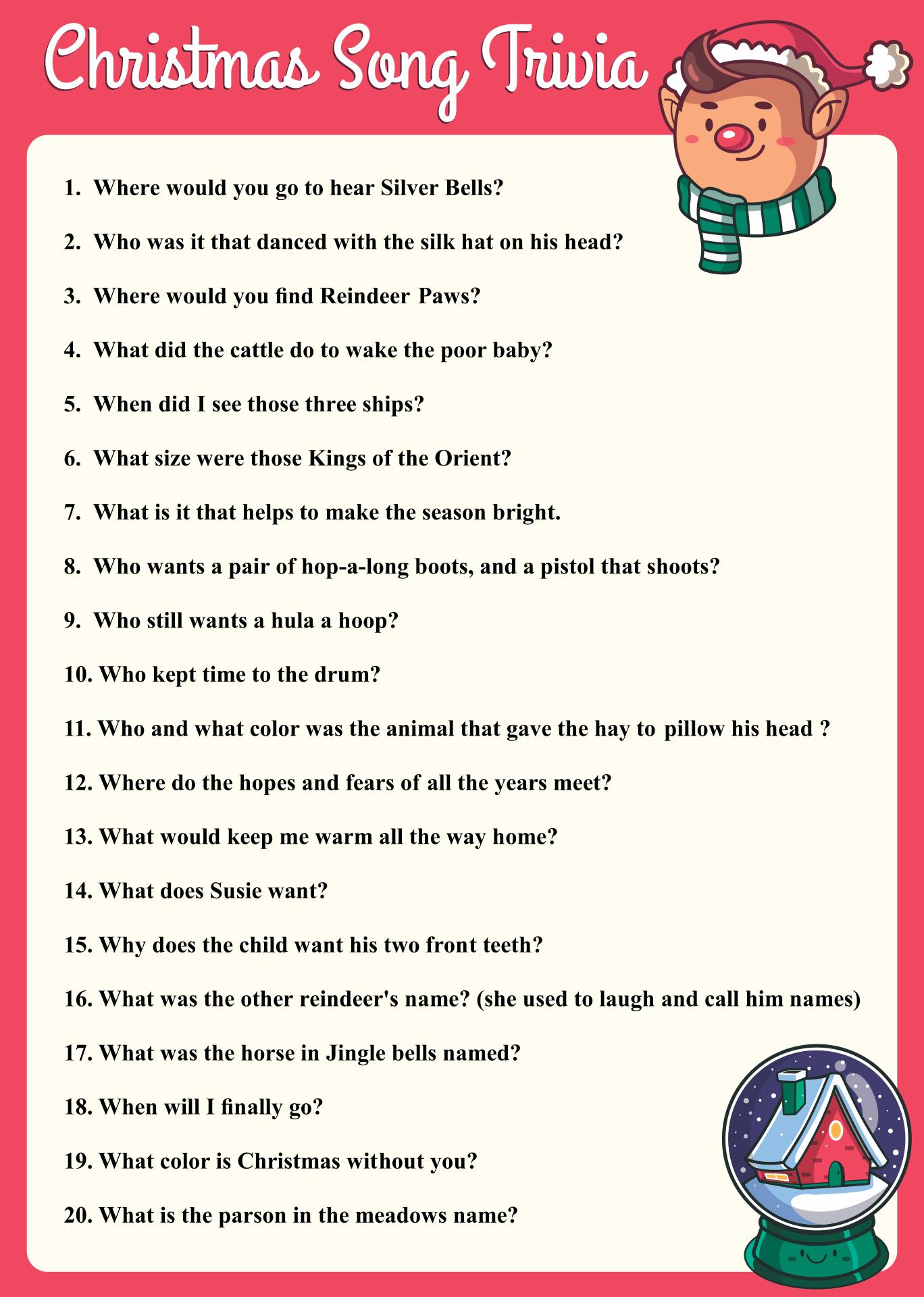 7 Images of Printable Christmas Trivia