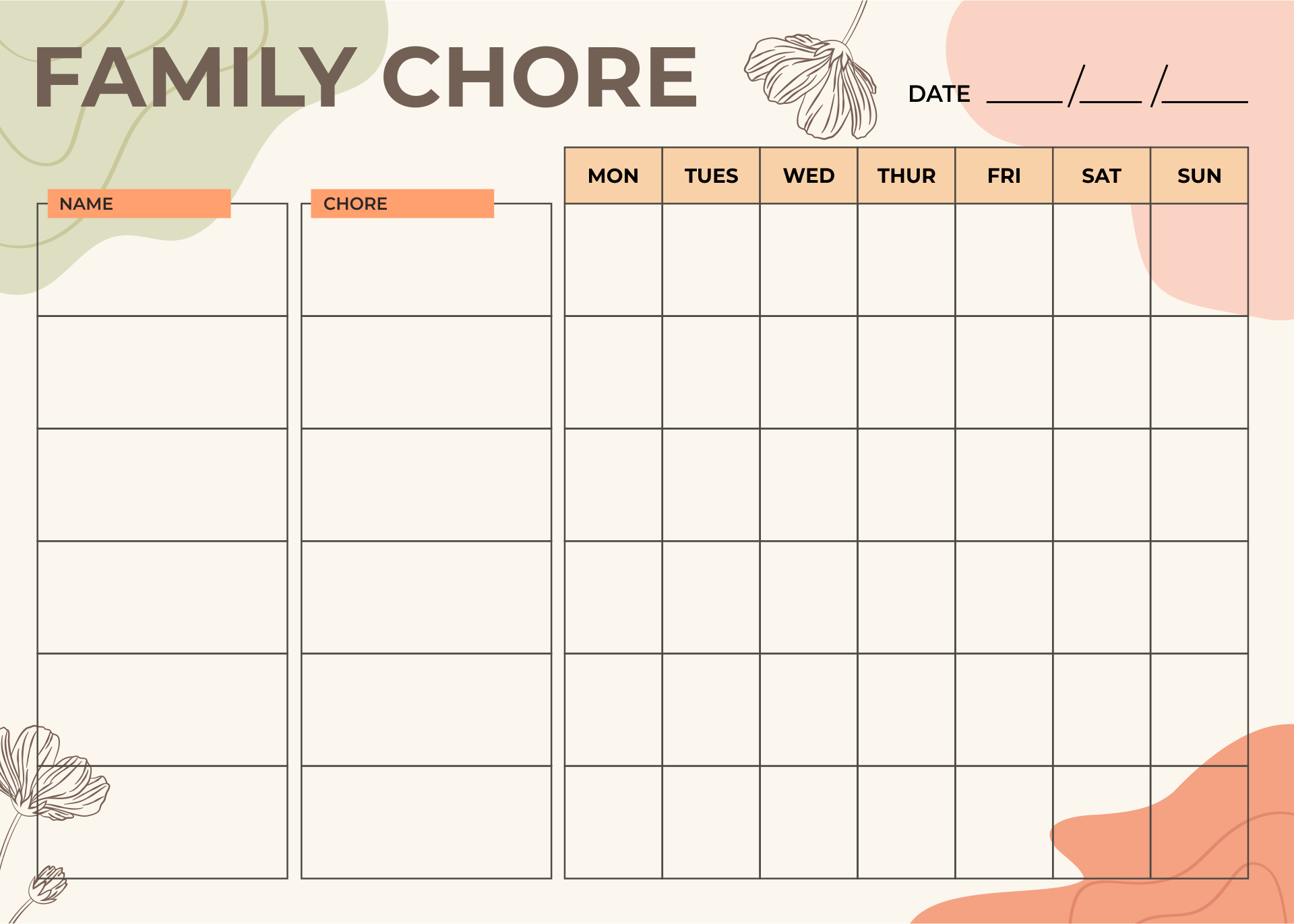 Printable Family Chore Charts Template