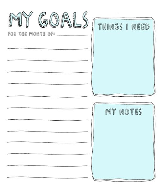 5 Images of Monthly Goals Printable