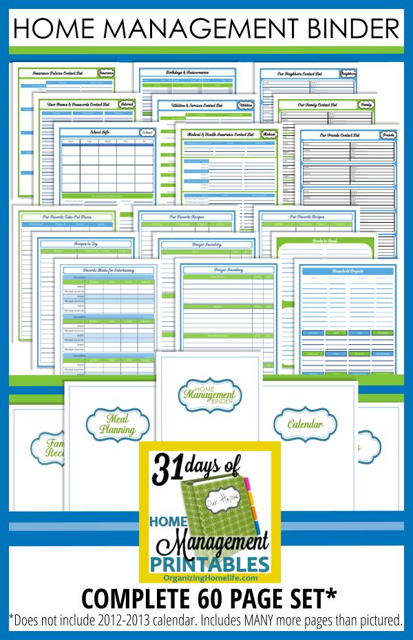 Printable Home Management Binder Pages