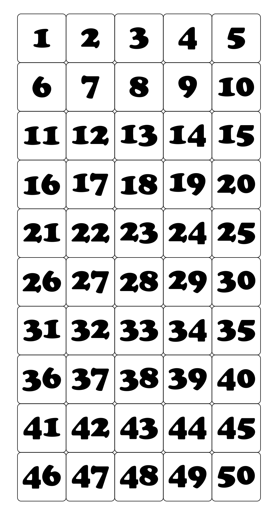 Printable Number Cards 1 50