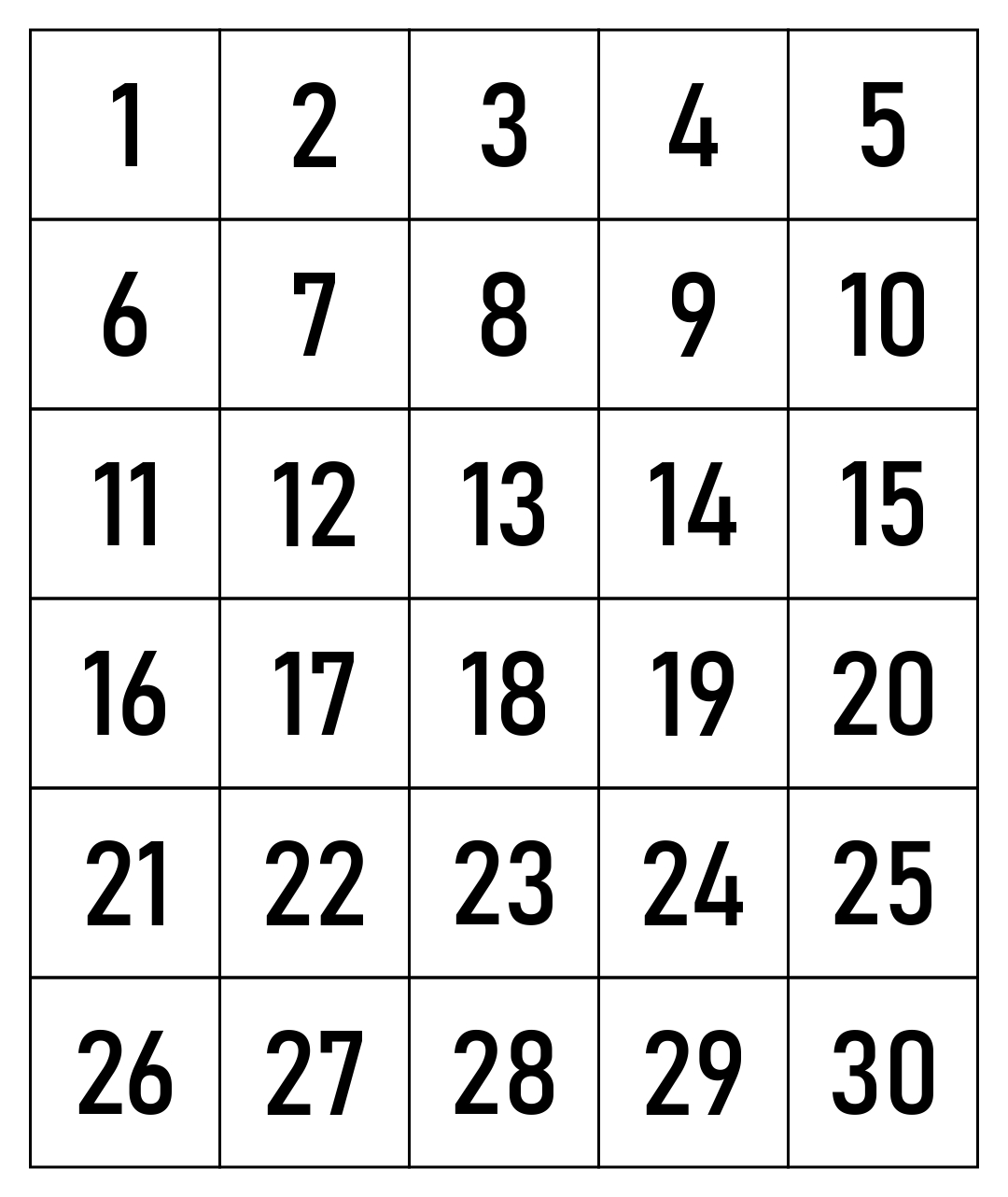 Printable Number Chart 1 30