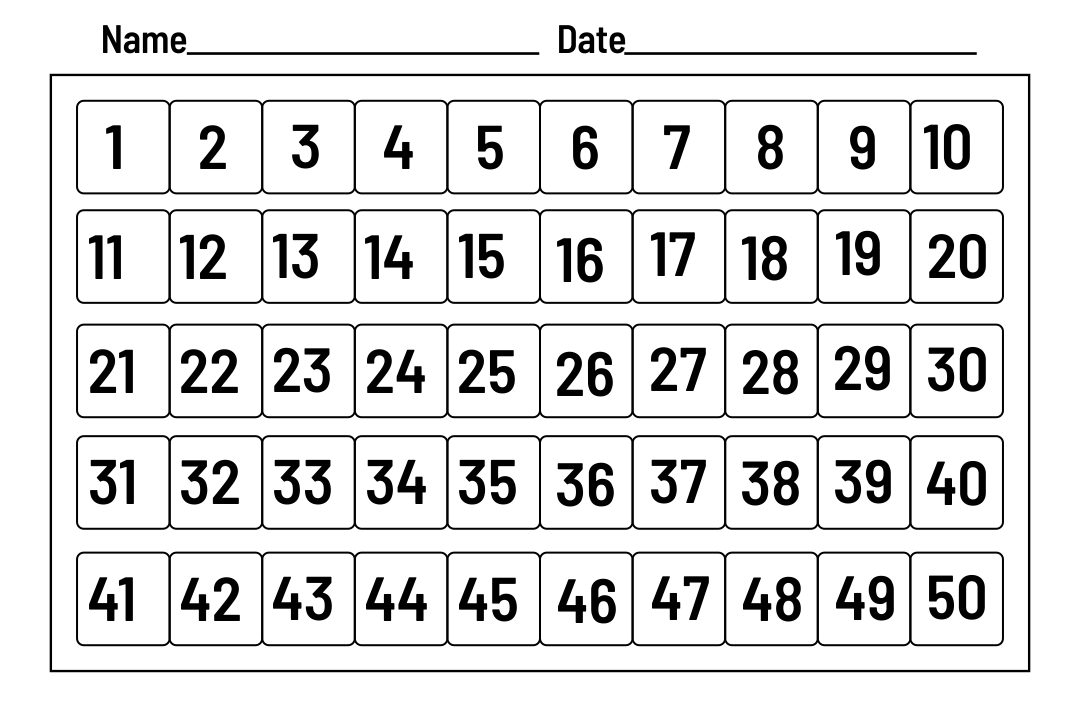Printable Number Chart 1 50
