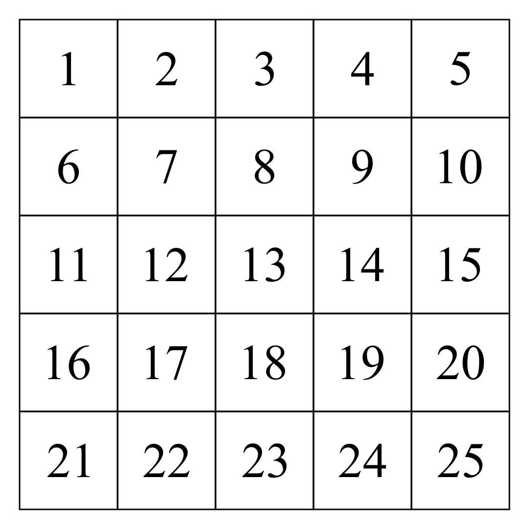 Printable Number Grid 1 25