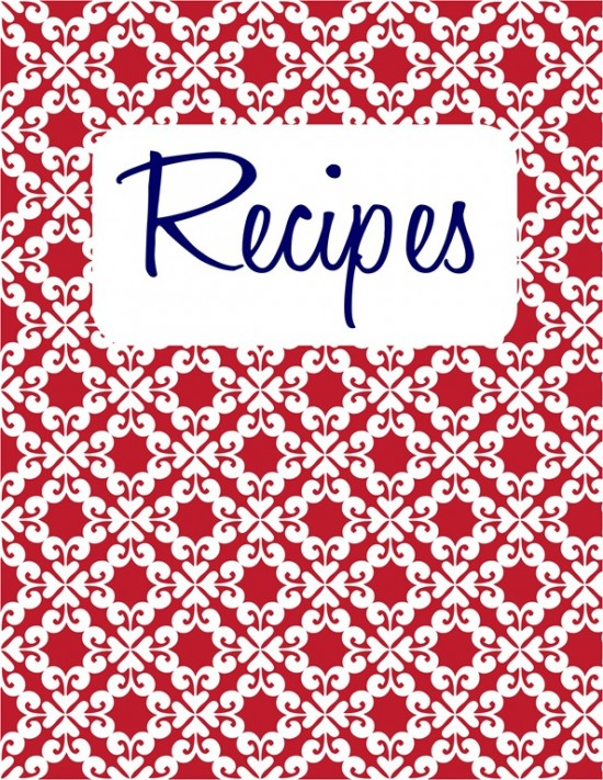 6 Images of Recipe Cookbook Cover Printables