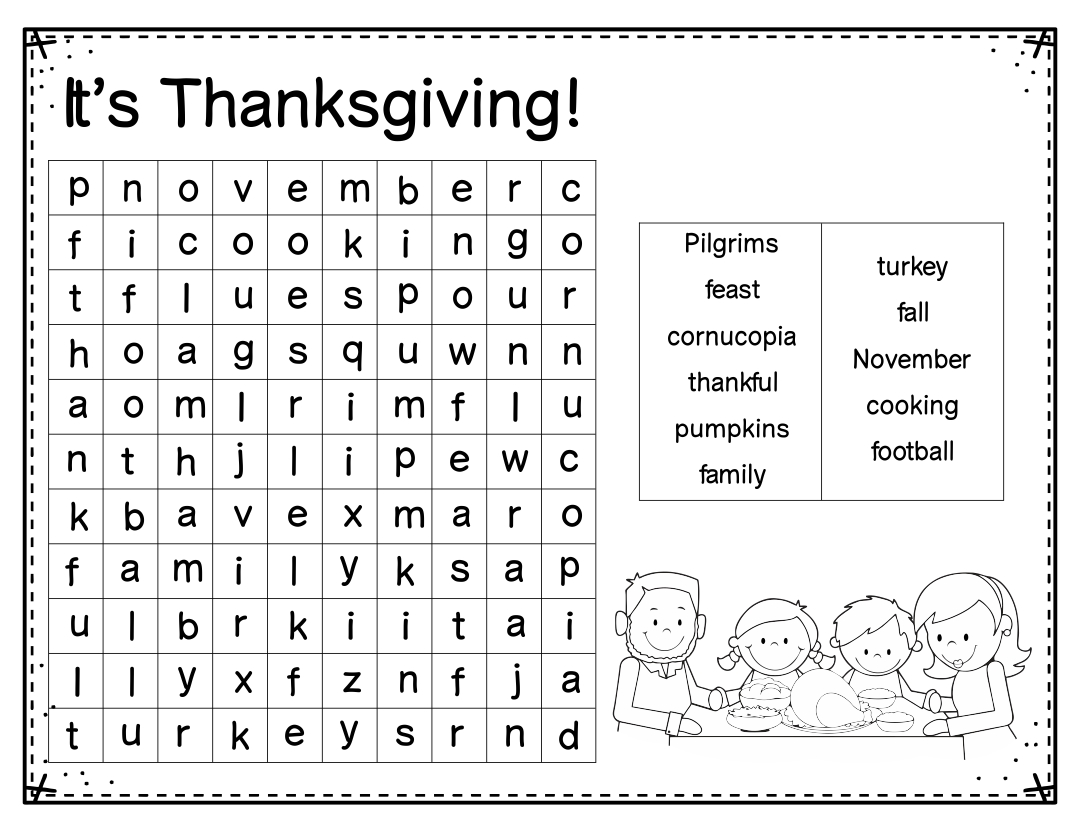 8 Best Images of Free Thanksgiving Printable Word Finds ...