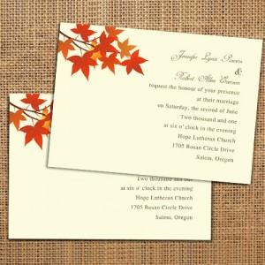 Simple Fall Leaves Wedding Invitations