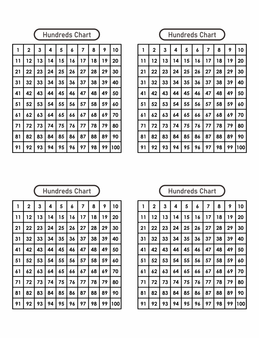 Images of Hundreds Chart Printable PDF - Hundred Printable 100 Chart ...