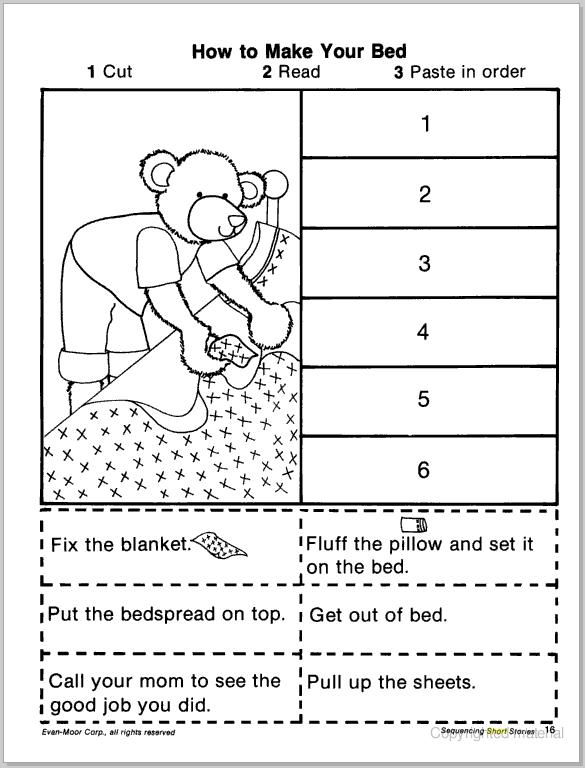 math worksheet : sequencing story events kindergarten worksheets  draw a story in  : Free Cut And Paste Worksheets For Kindergarten