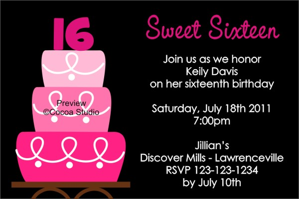 7 Best Images of Printable Sweet 16 Birthday Invites ...