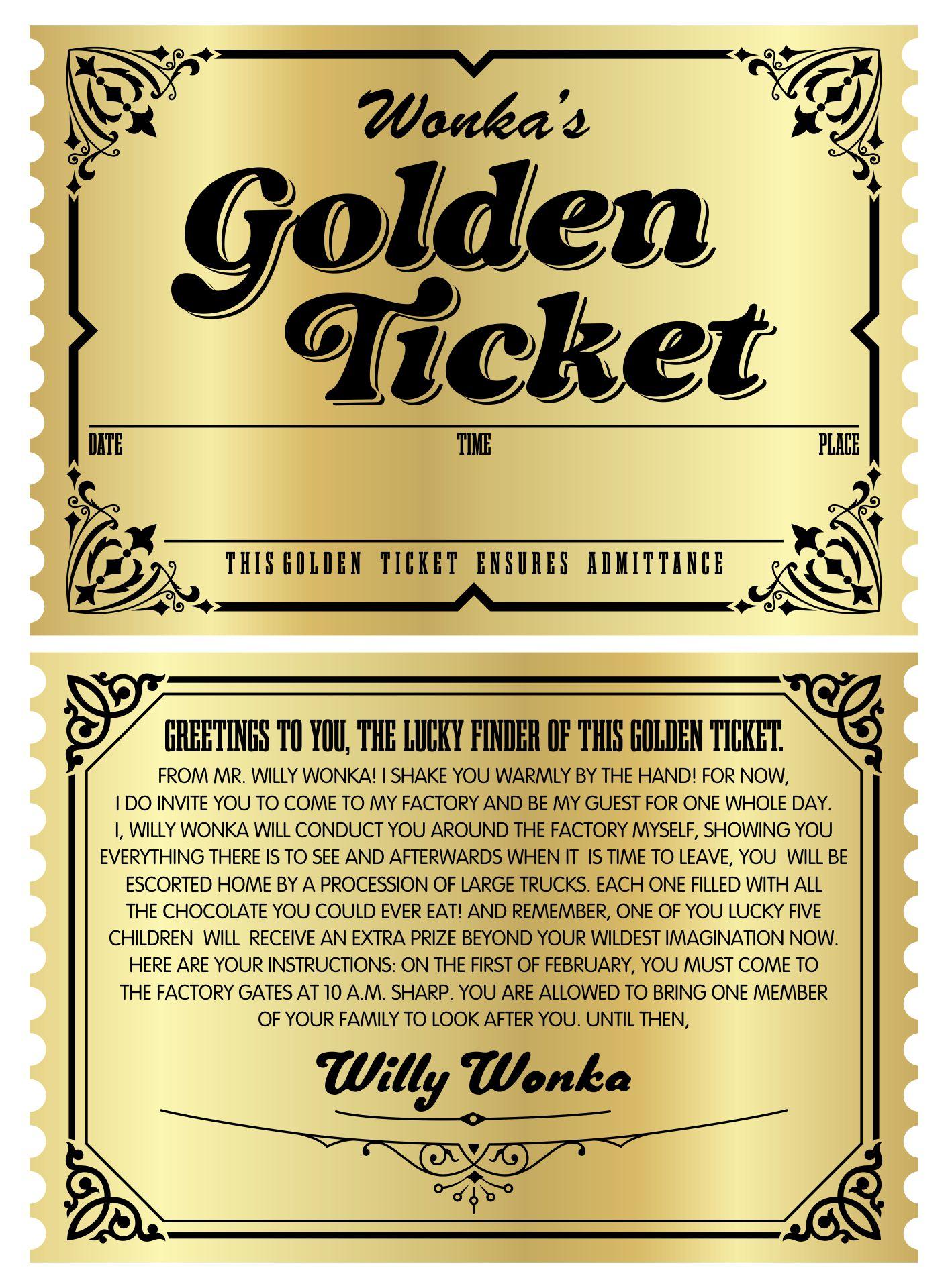 Wonka Golden Ticket Template Word
