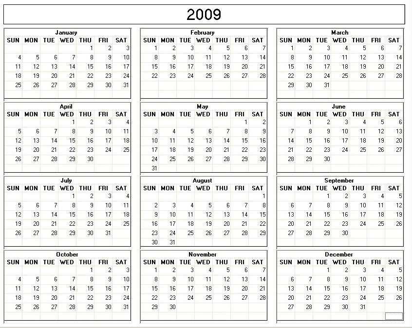 6 Images of 2009 Monthly Calendar Printable