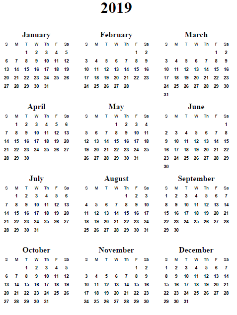 2019 Yearly Calendar Printable Free - 2016 Yearly Calendar Printable ...