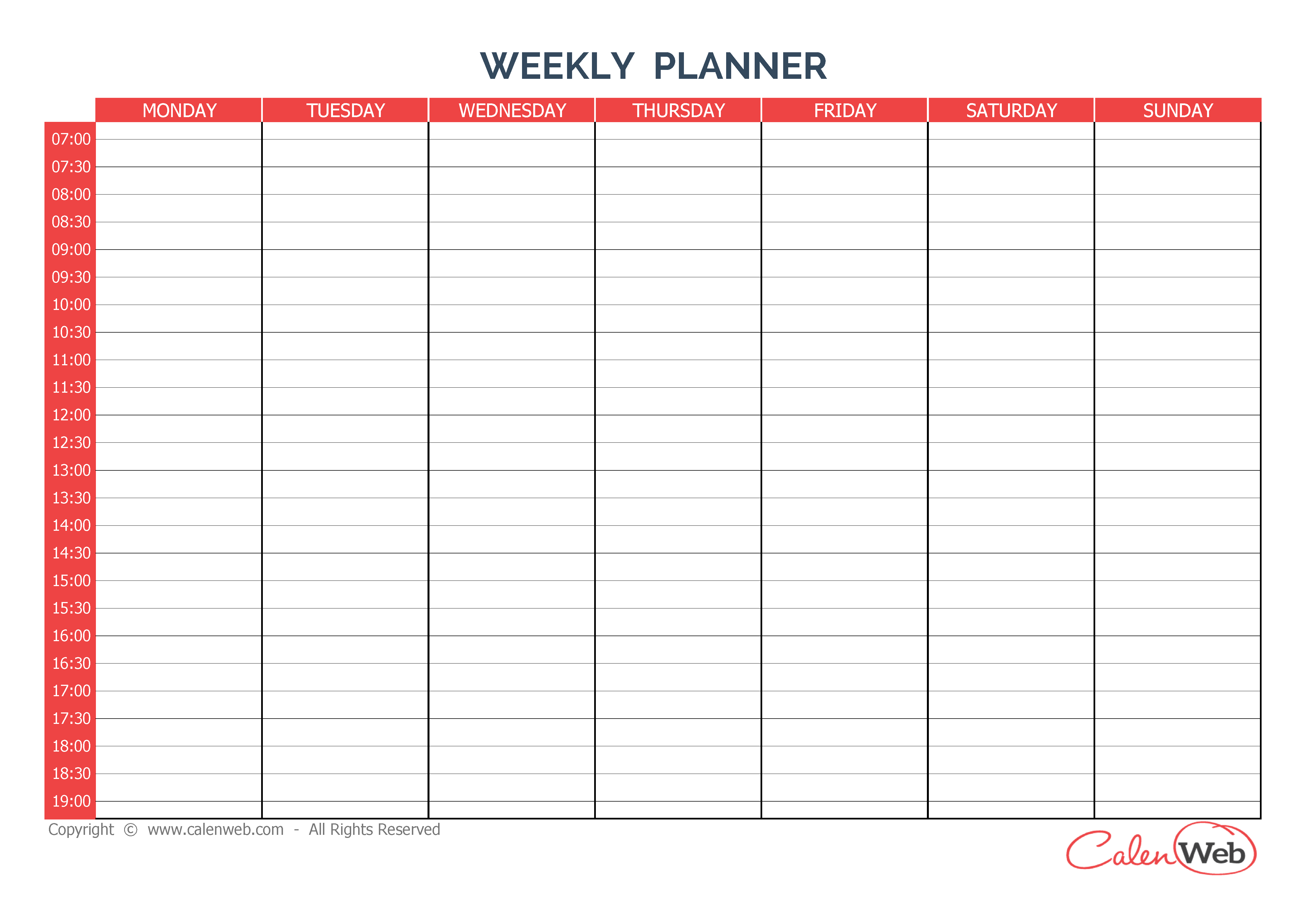 7 Day Planner Template March 2017 Calendar – 7 Day Planner Template