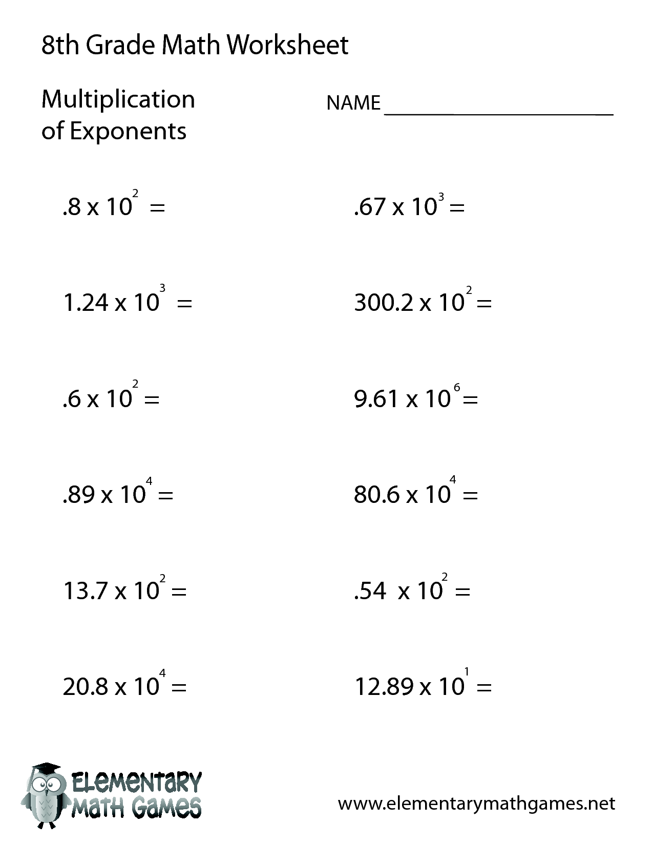 worksheet Grade 8 Math Worksheets class 8 maths worksheets 7th grade standard met exponents in 8th math free printable with answers spelling