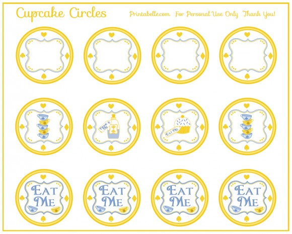 9 Images of Alice In Wonderland Party Printables Tags