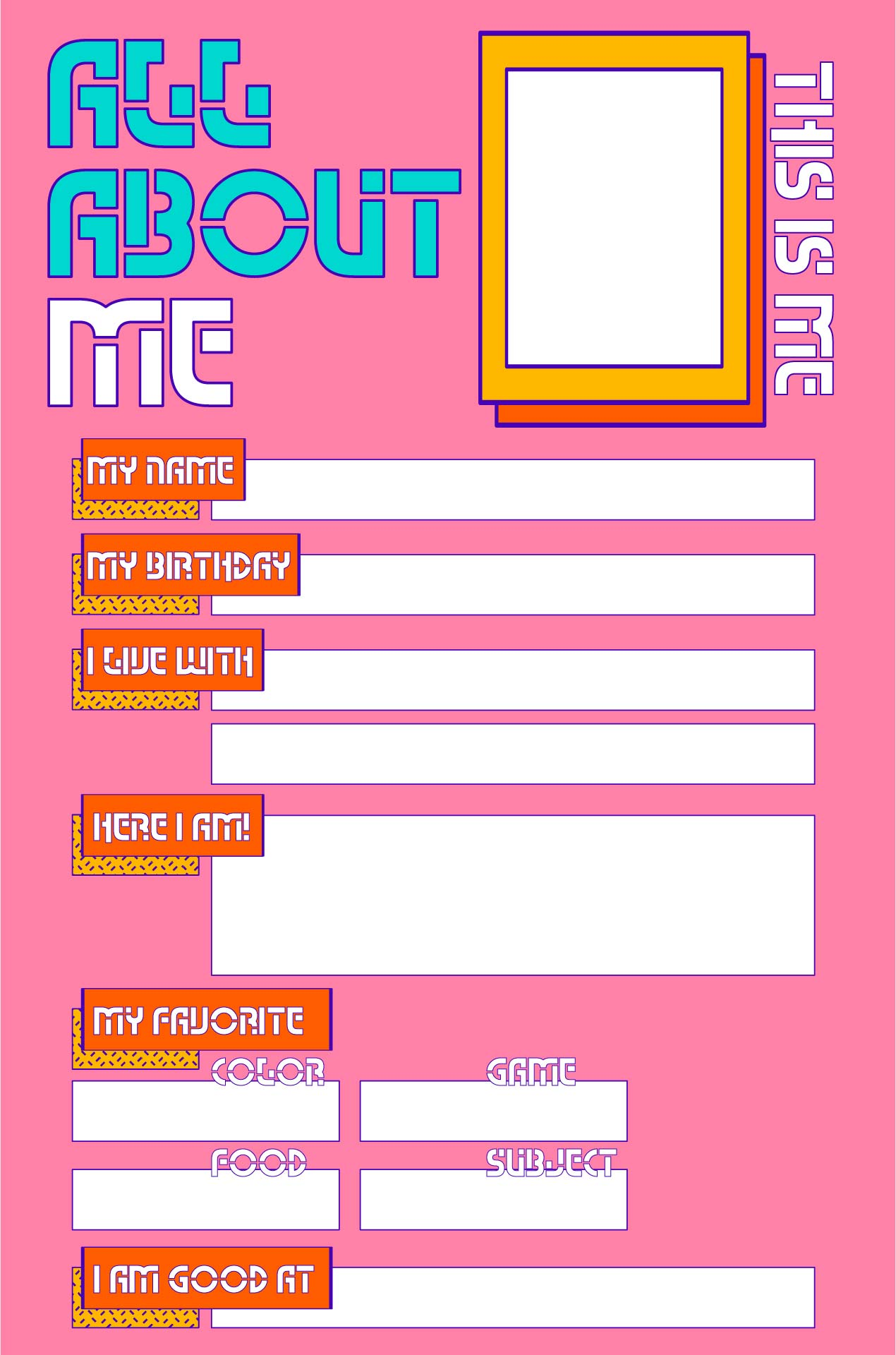 6 Images of Student All About Me Printable