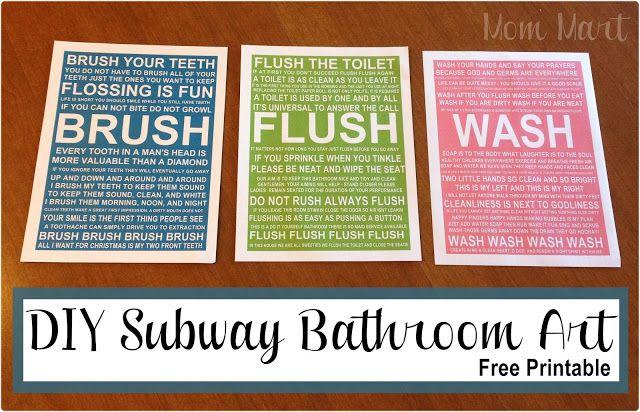 4 Images of Free Printable Bathroom Subway Art