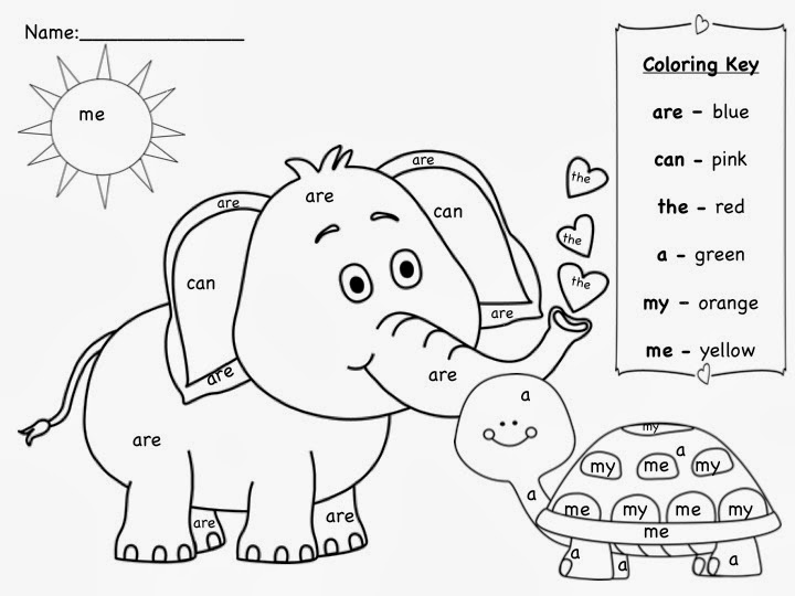 Color By Sight Word Worksheets For Kindergarten | Coloring Page