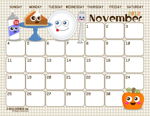 Cute November 2015 Calendar Printable Free