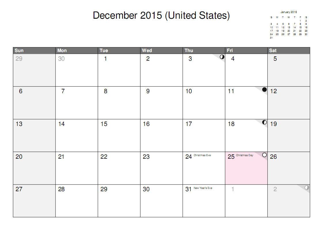 Best Images of December Calendar Printable - Calendar 2015 Printable ...