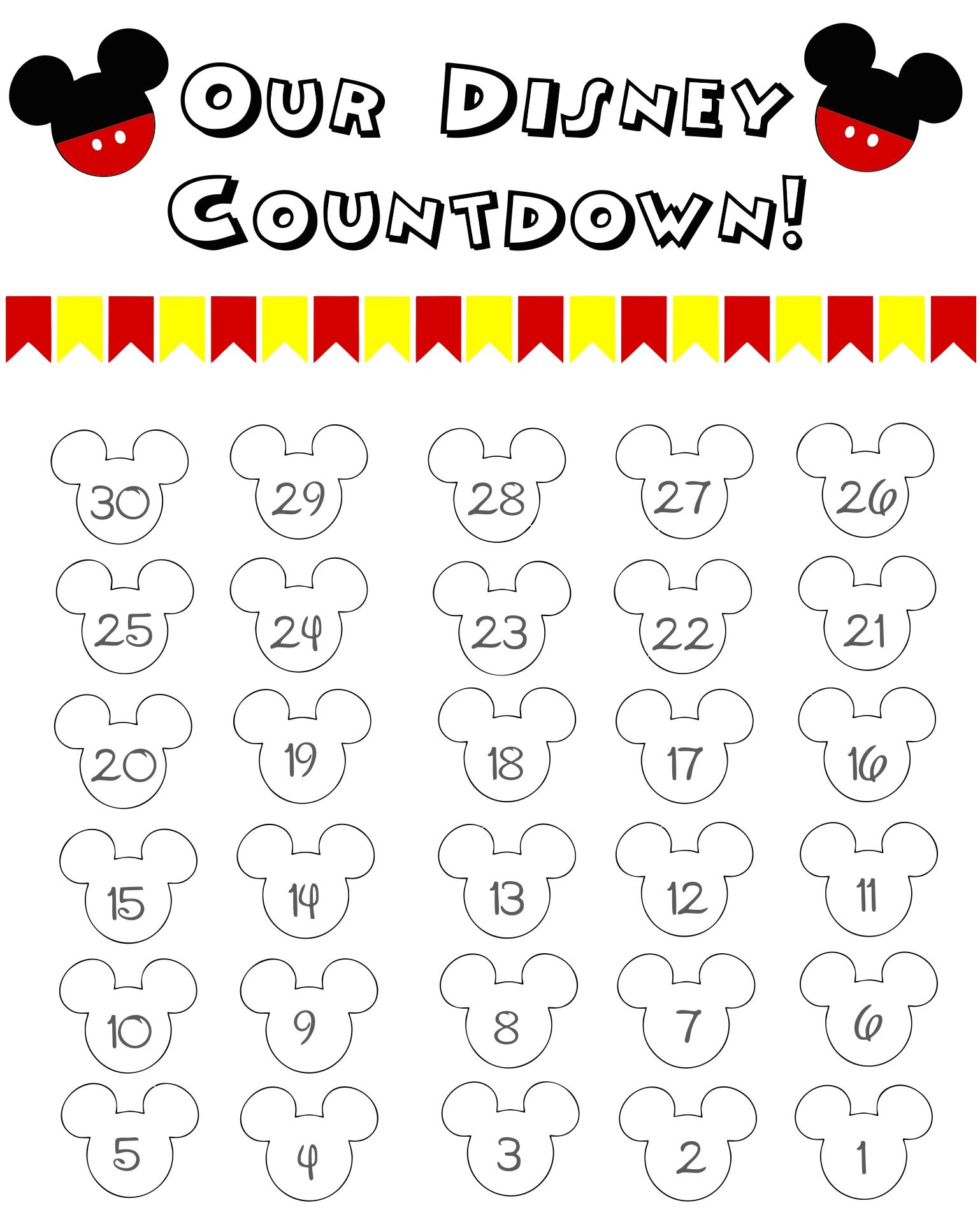 Disney Countdown Calendar Template