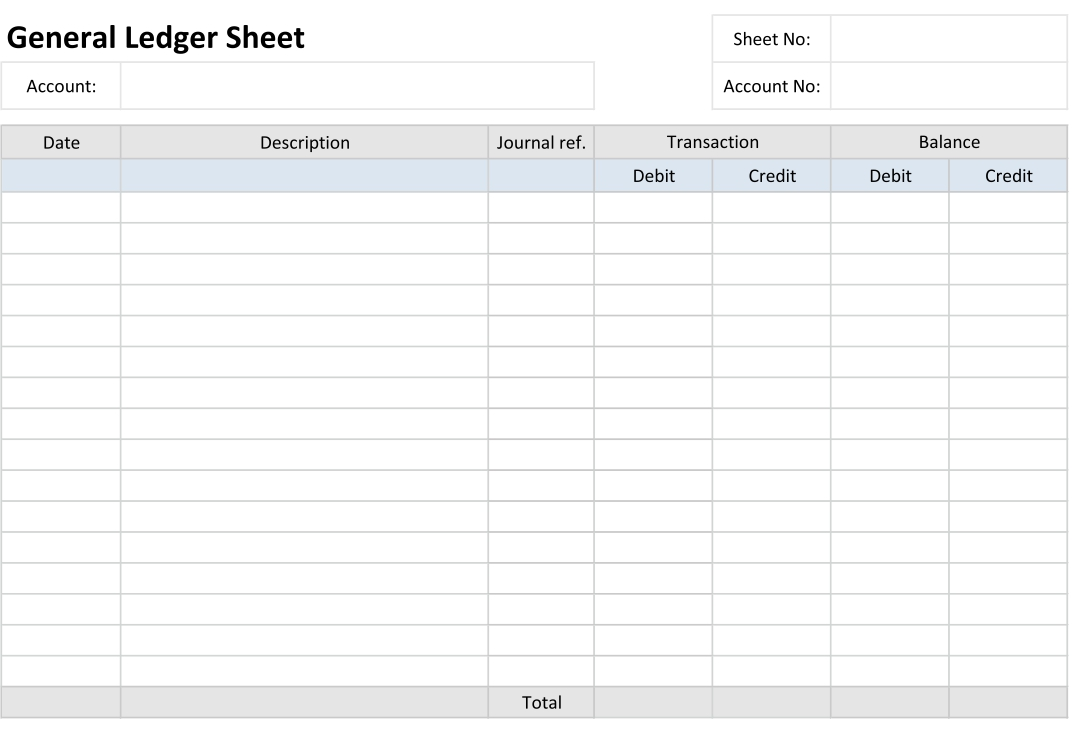 Printable Blank Ledger Sheets