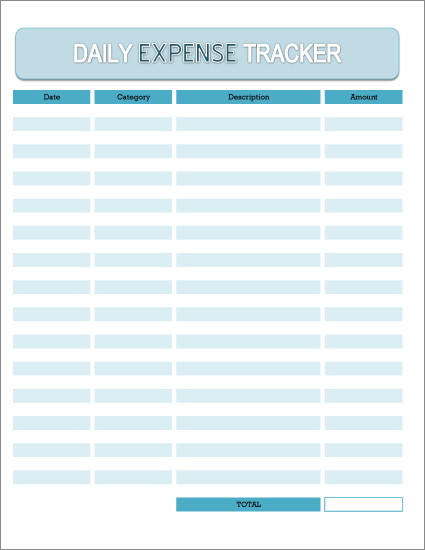 Free Printable Daily Expense Tracker