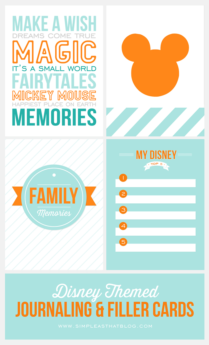 8 Images of Free Printable Disney Journaling Cards