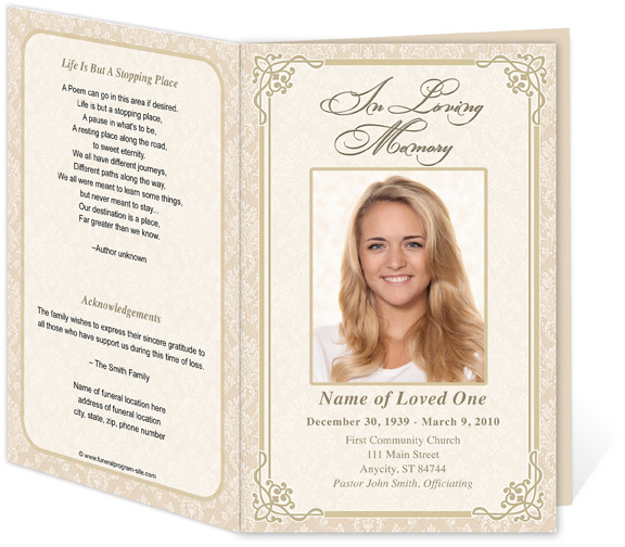 8 best images of free printable funeral service templates for Funeral handouts template