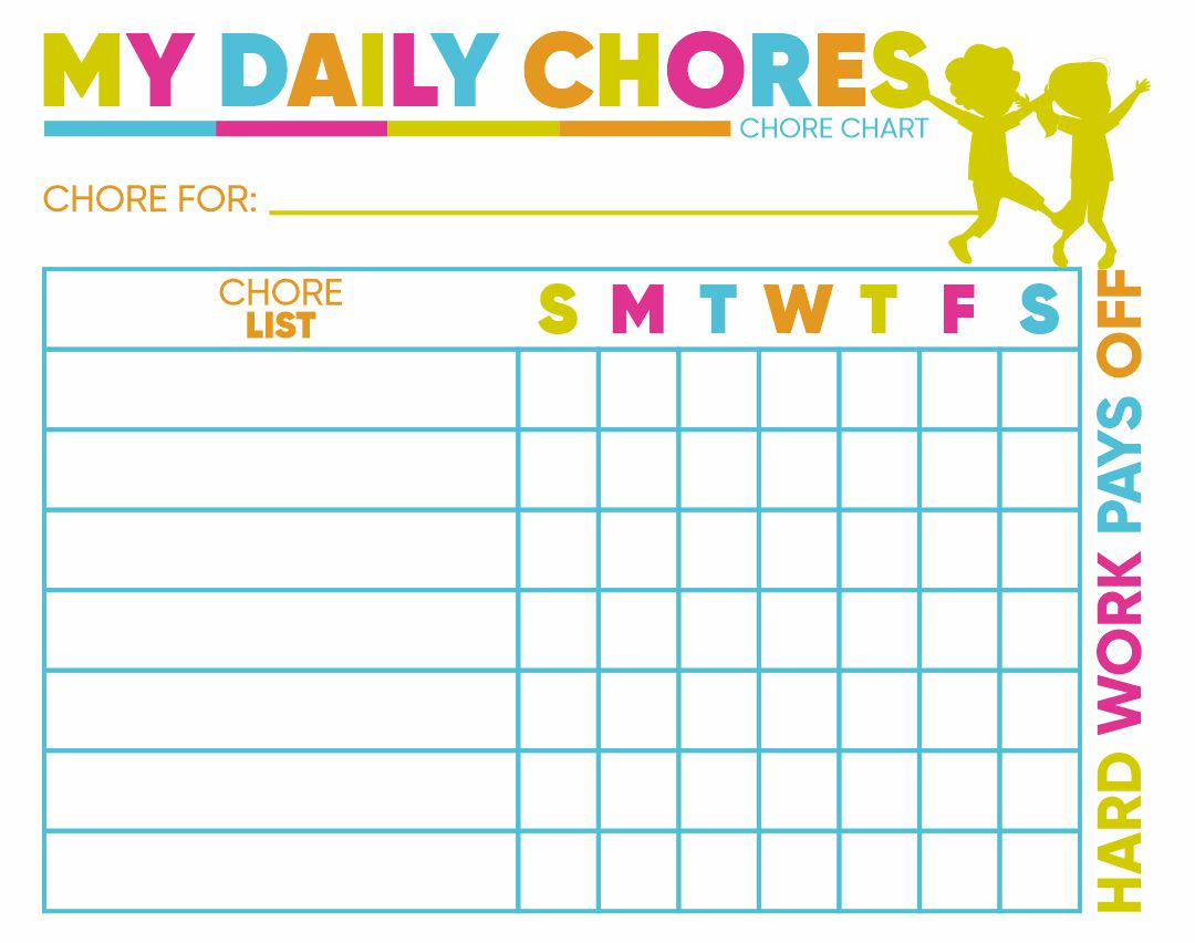 8 best images of free printable kids chore charts for Chore list template for kids