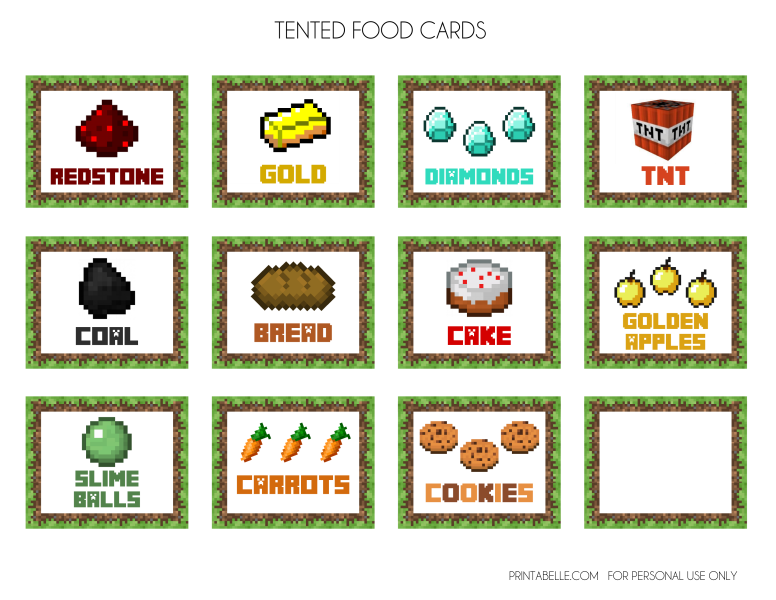 4 Images of Minecraft Printables Food Signs