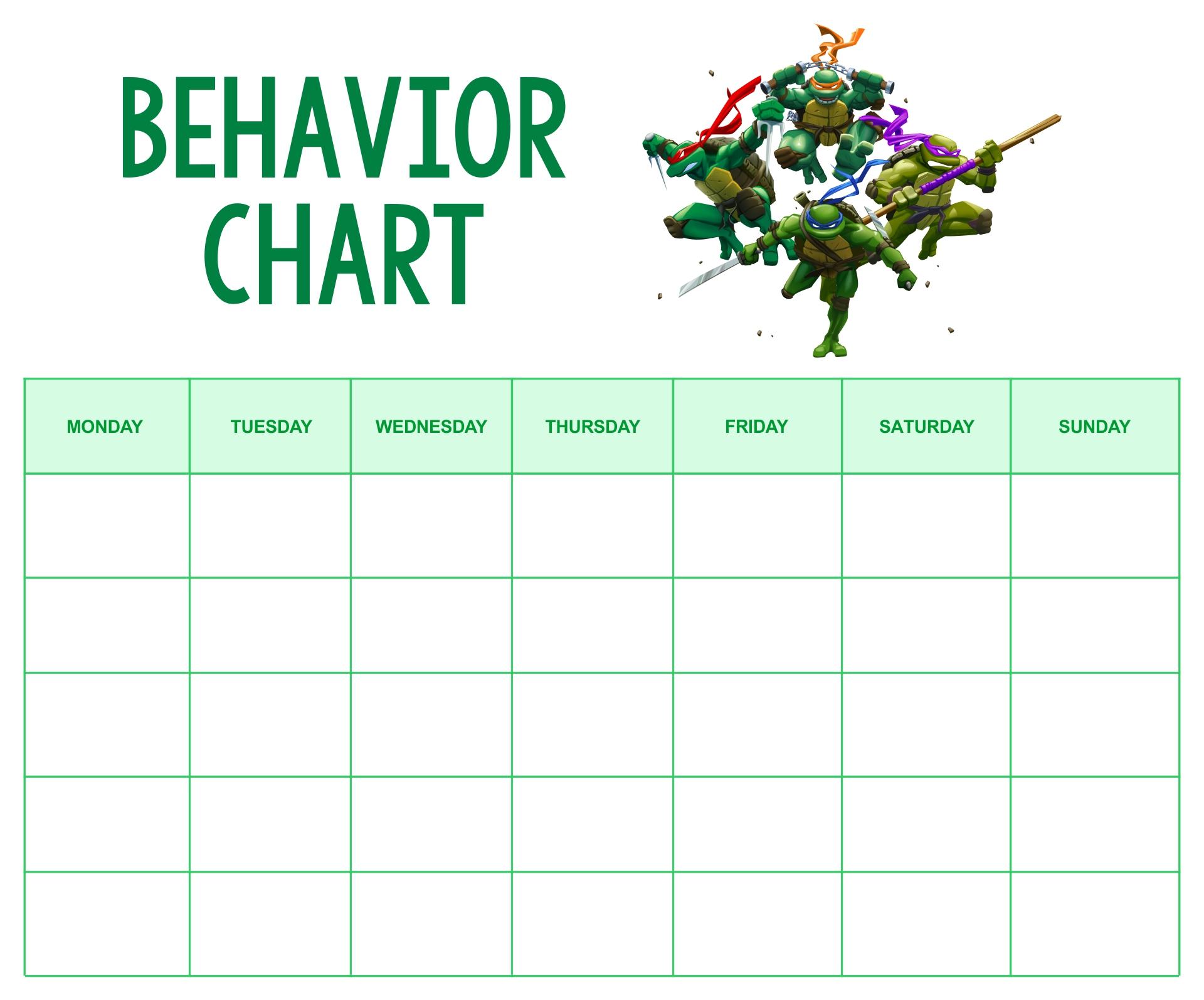 Printable Ninja Turtle Behavior Chart
