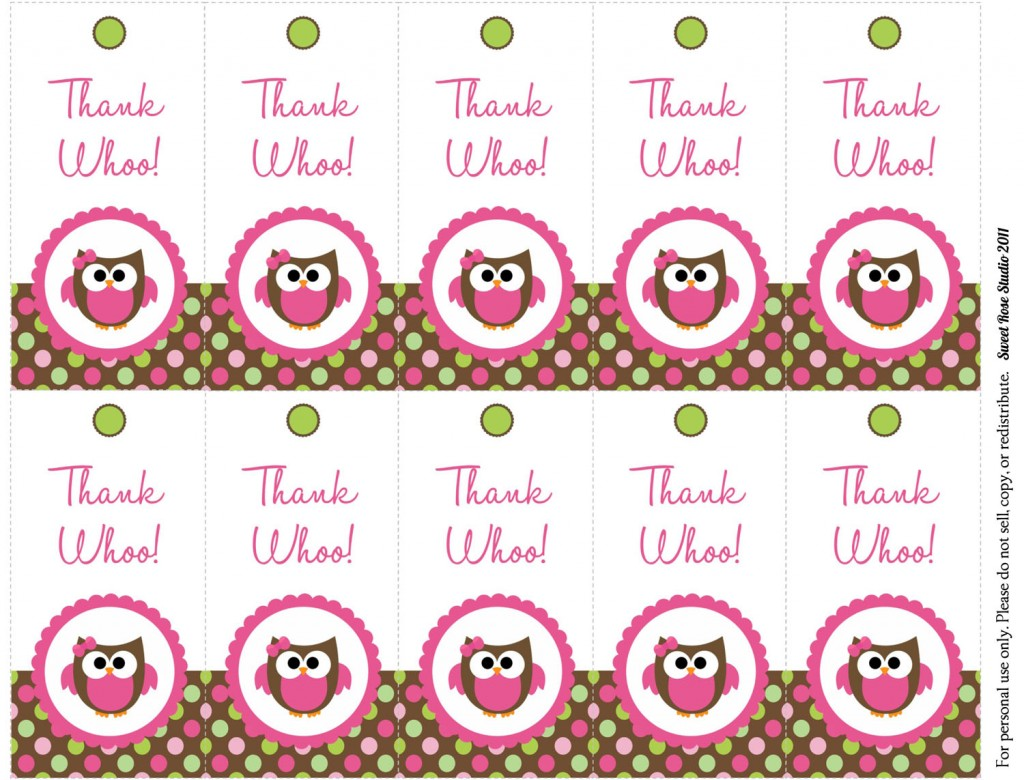 8 Images of Printable Owl Thank You Tags