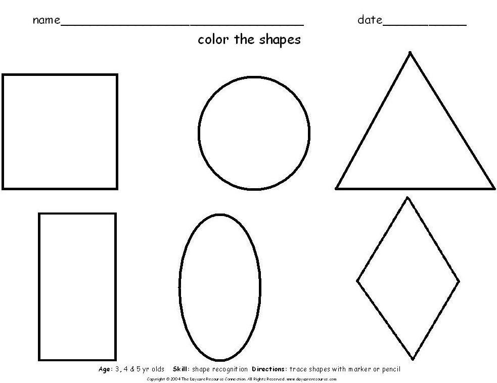 Pre k tracing shapes worksheets tracing circles for Shape tracing templates